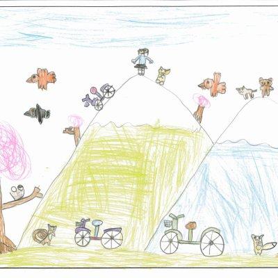 動物達と春のサイクリング ニセコ町立ニセコ小学校